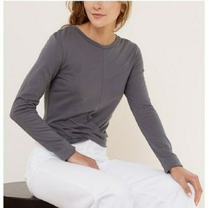 Tops - Gray Long Sleeve Cropped Top